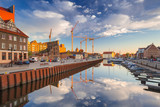 Beautiful marina with yachts in Gdansk reflected in the river at sunrise, Poland. - 204917986