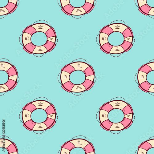 Cotton fabric Seamless pattern with lifebuoy