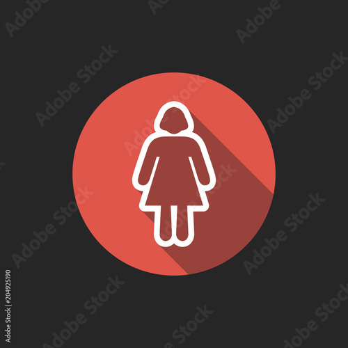 Elegant Universal White Minimalistic Thin Line Woman Icon with Shadows on Circular Color Button on Black Background