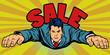 Serious businessman flies, sales
