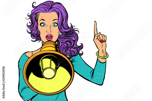 woman with megaphone, isolated on white background