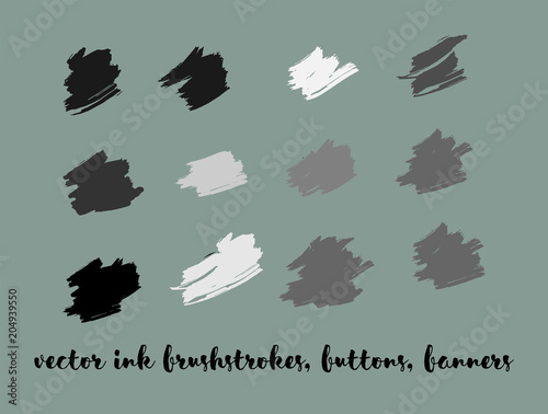 Grayscale Painted Vector Buttons Set. Stain Borders, Paintbrush Strokes. Black and White Oil Splash, Textured Ads Background. Grayscale Logos, Painted Vector Buttons Set. Graffiti Grunge Banners.