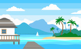 tropical landscape with island sea bungalow wooden pier - 204944344