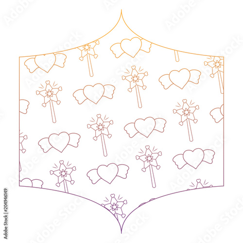 decorative frame with magic wands and hearts pattern over white ...