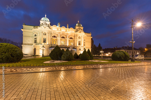 Aluminium Krakau night view of the historical building in Krakow / Poland.