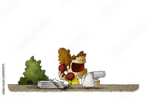 Illustration of woman talking by telephone while working in office. isolated