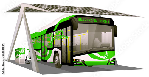 Fototapeta Electric bus loaded with pv roof