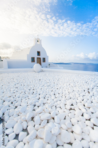 Plexiglas Santorini White architecture on Santorini island, Greece.