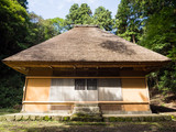 Japanese traditional house with thatched roof - 204953540