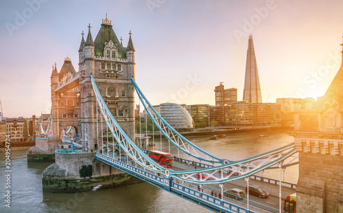 The london Tower bridge at sunrise