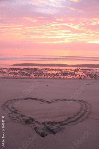 Fotobehang Lichtroze Empty Beach Sunset