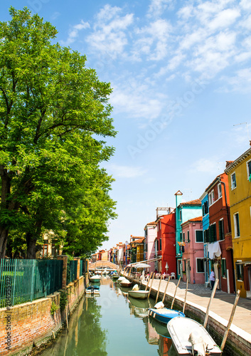 Panorama of Burano Island,Italy,15 May 2018,panorama of Burano Island, streets with colorful houses spring month may
