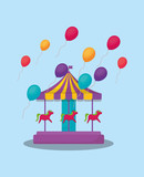 carousel and colorful balloons over blue background, colorful design. vector illustration