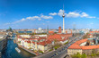 Aerial view of central Berlin on a bright day in Spring, including Alexanderplatz