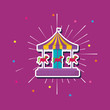 carousel icon over purple background, colorful design. vector illustration
