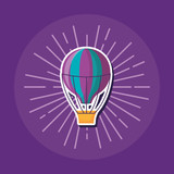 hot air balloon icon over purple background, colorful design. vector illustration
