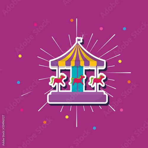 carousel icon over purple background, colorful design. vector illustration