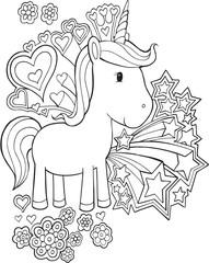 Cute Unicorn Pony Vector Illustration Art
