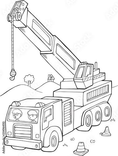 Plexiglas Cartoon draw Big Crane Construction Vector Illustration Art
