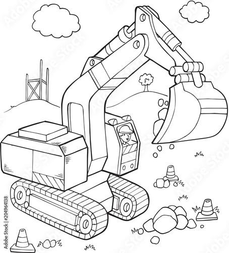 Plexiglas Cartoon draw Big Digger Construction Vehicle Vector Illustration Art