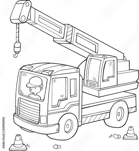 Plexiglas Cartoon draw Big Construction Truck Vector Illustration Art