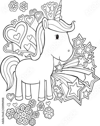 Canvas Cartoon draw Cute Unicorn Pony Vector Illustration Art