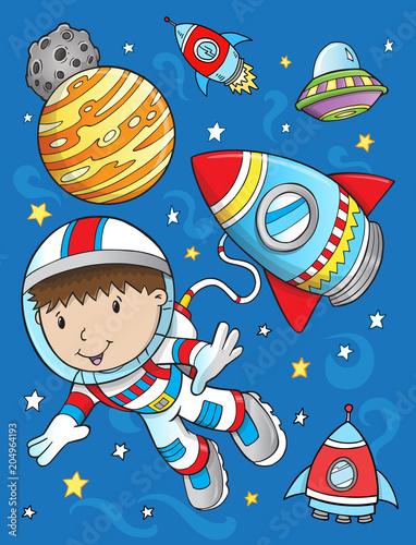 Canvas Cartoon draw Cute Astronaut Rocket Space Vector Illustration Art