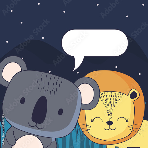 Sticker cute koala and lion with speech bubble over forest landscape background, colorful design. vector illustration