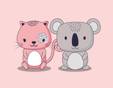 cute koala and cat over pink background, colorful design. vector illustration