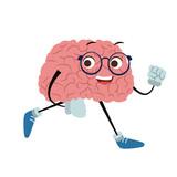 Funny brain cartoon running vector illustration graphic design - 204968951