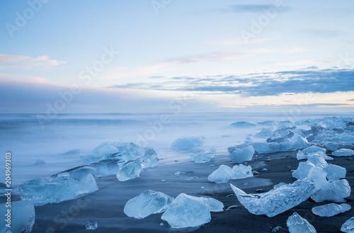 Black sand beach with ice, Iceland