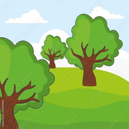 landscape with trees, colorful design. vector illustration