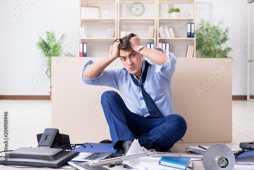 Angry businessman frustrated with too much work - 204988946