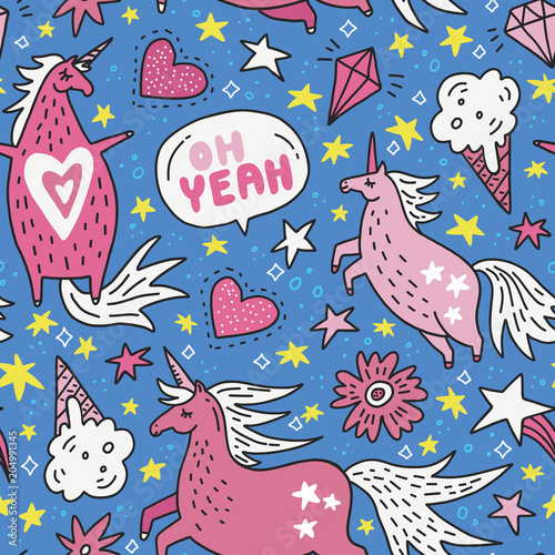 Cotton fabric Unicorn Seamless Pattern