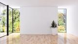 Modern bright interiors apartment 3D rendering illustration - 205001538
