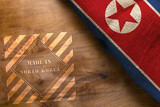 Flag and stamp made in North Korea made from rough fabric - 205006311
