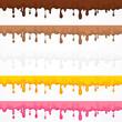 Cream glaze blots and splash, dripping flows or liquid. Dessert