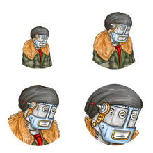 Pop Art Avatar Of Robot Android In Fashion Jacket Element For Chat Blog  Metal Cyborg In Modern Clothing Cap  Antenna Artificial Intelligence Steampunk Concept Sticker
