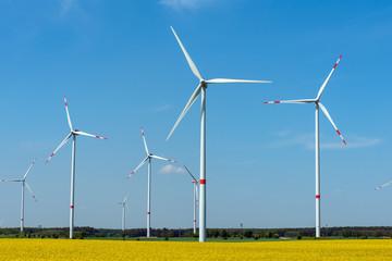 Wind power plants in a flowering rapeseed field seen in rural Germany