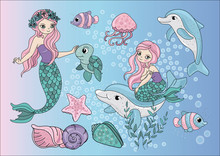 Cartoon Clipart Mermaids Color  Illustration Magic Beautiful Picture Paint Drawing Set Scrapbooking Baby Book Fairytale Greeting Print Card Album Digital Paper Birthday Sticker