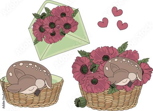 Fototapeta Cartoon Clipart DEER BABY Color Vector Illustration Magic Beautiful Picture Paint Drawing Set Scrapbooking Baby Book Fairytale Greeting Print Card Album Digital Paper Birthday