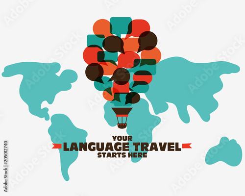 Canvas Wereldkaarten Your language travel starts here. Poster design with hot air balloon made of speech bubbles