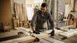 Carpenter working with circular saw at carpentry workshop