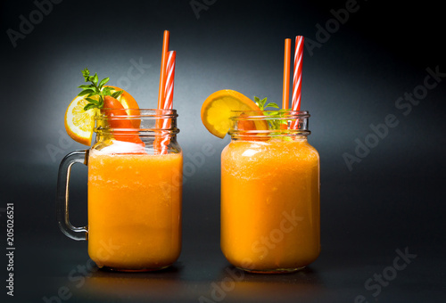 Carrot and orange mixed fruit smoothies