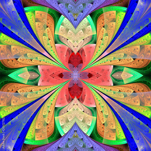 Multicolored floral pattern in stained-glass window style. You can use it for invitations, notebook covers, phone cases, postcards, cards, wallpapers and so on. Artwork for creative design. - 205027102