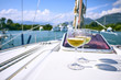 Quadro Pair of wineglasses against the yacht