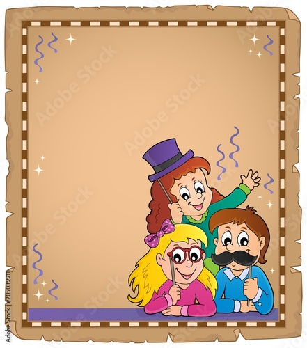 Plexiglas Voor kinderen Parchment with party photo boot topic