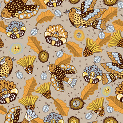 Embroidery flowers, birds and leaves seamless pattern. Imitation of children's drawing.  Fashionable design of clothing patterns.  Endless texture.