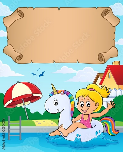Plexiglas Voor kinderen Small parchment and girl in pool