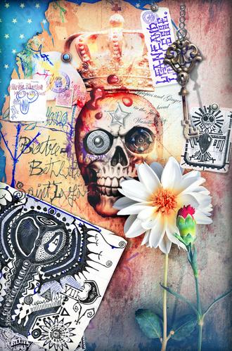 Aluminium Imagination Skull,skeleton an gosth with scary scenery